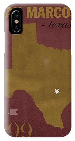 Bobcats iPhone Case - Texas State University Bobcats San Marcos College Town State Map Poster Series No 108 by Design Turnpike