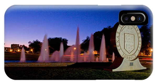 IPhone Case featuring the photograph Texas Tech University Seal And Blue Sky by Mae Wertz