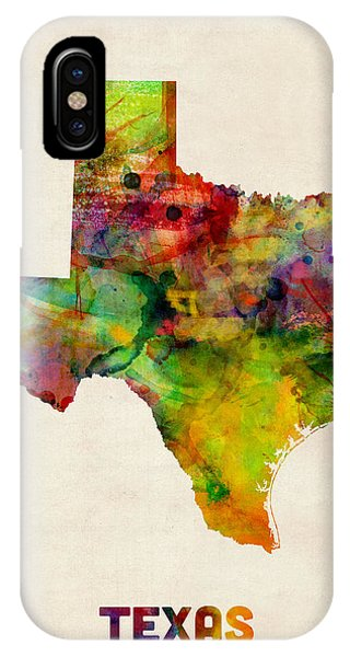 University iPhone Case - Texas Watercolor Map by Michael Tompsett