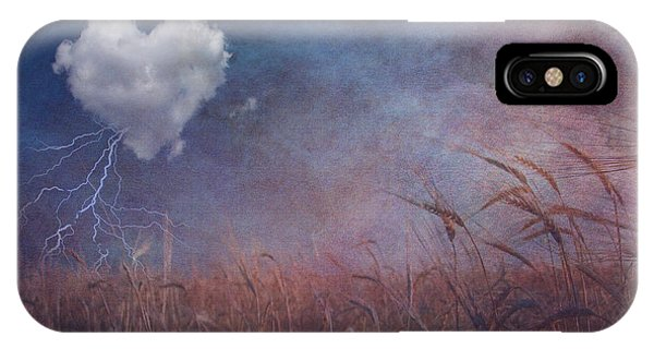 Textured Heart Cloud And Open Field IPhone Case