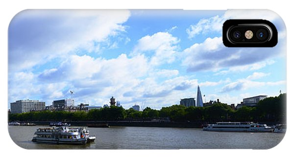 Thames With Blue Sky And Puffy Clouds IPhone Case