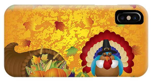 Thanksgiving Day Feast Cornucopia Turkey Pilgrim With Background IPhone Case
