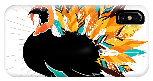 Turkey iPhone Case - Thanksgiving Turkey With Feathers And by Ksanagraphica