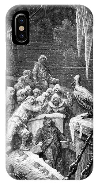 Albatross iPhone Case - The Albatross Being Fed By The Sailors On The The Ship Marooned In The Frozen Seas Of Antartica by Gustave Dore