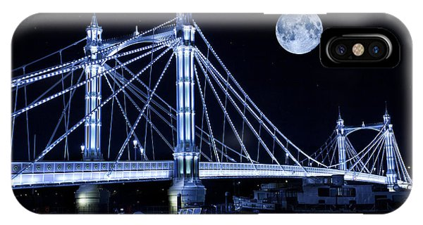 Super Moon iPhone Case - The Albert Bridge And The Moon by MGL Meiklejohn Graphics Licensing