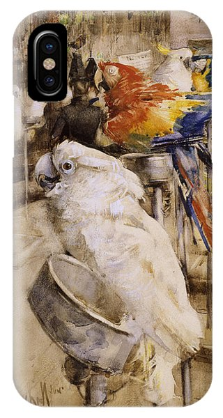 Cockatoo iPhone Case - The Aviary, Clifton, 1888 by Joseph Crawhall