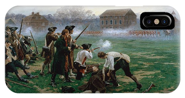 Shooting iPhone Case - The Battle Of Lexington, 19th April 1775 by William Barnes Wollen