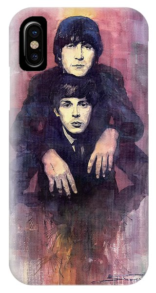 Figurative iPhone Case - The Beatles John Lennon And Paul Mccartney by Yuriy Shevchuk