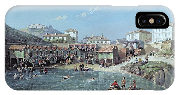 West Bay iPhone Case - The Beginning Of Sea Swimming In The Old Port Of Biarritz  by Jean Jacques Alban de Lesgallery