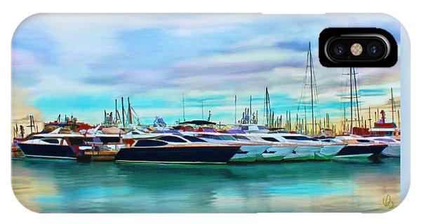 IPhone Case featuring the painting The Boats Of Malaga Spain by Deborah Boyd