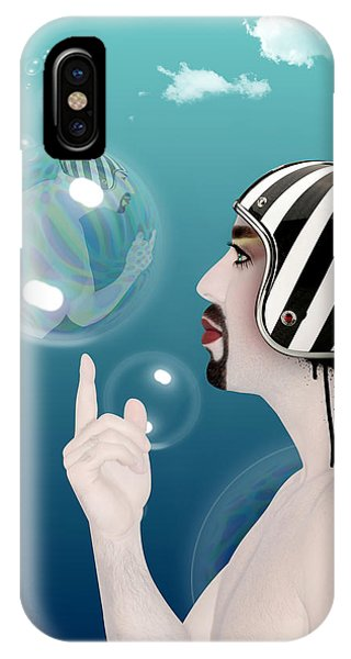 Famous People iPhone Case - the Bubble man by Mark Ashkenazi
