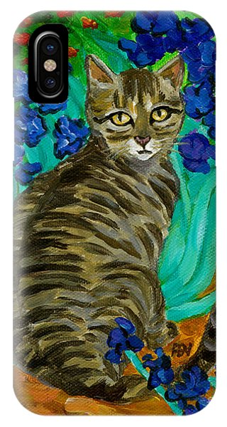 The Cat At Van Gogh's Irises Garden IPhone Case