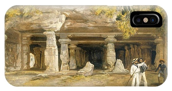 British Empire iPhone Case - The Cave Of Elephanta, From India by William 'Crimea' Simpson