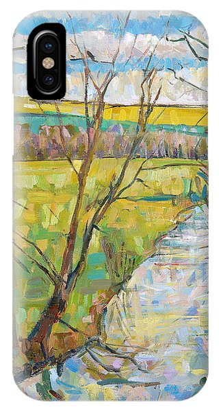 English Countryside iPhone Case - The Cherwell From Rousham II Oil On Canvas by Erin Townsend