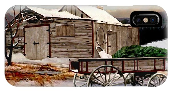 Barn Snow iPhone Case - The Christmas Tree by Ron Chambers