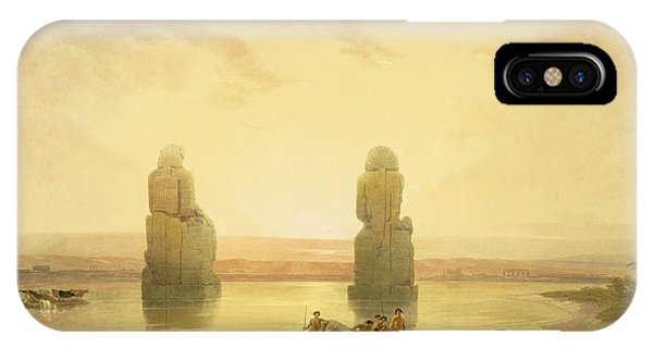 Pharaoh iPhone Case - The Colossi Of Memnon by David Roberts