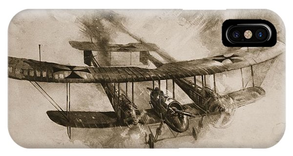 Wwi iPhone Case - German Biplane From The First World War by English School