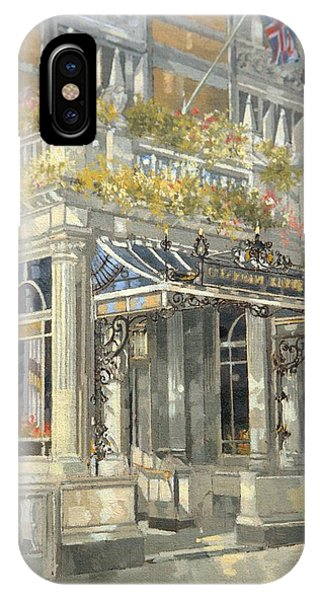 Porches iPhone Case - The Connaught Hotel, London Oil On Canvas by Peter Miller