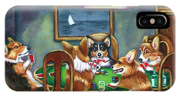 Cartoon iPhone Case - The Corgi Poker Game by Lyn Cook