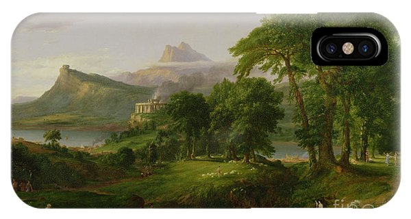 Mountainous iPhone Case - The Course Of Empire   The Arcadian Or Pastoral State by Thomas Cole
