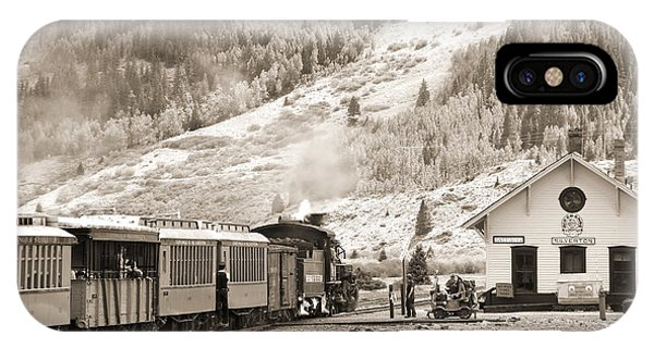 Passenger Train iPhone Case - The D And S Pulls Into The Station by Mike McGlothlen
