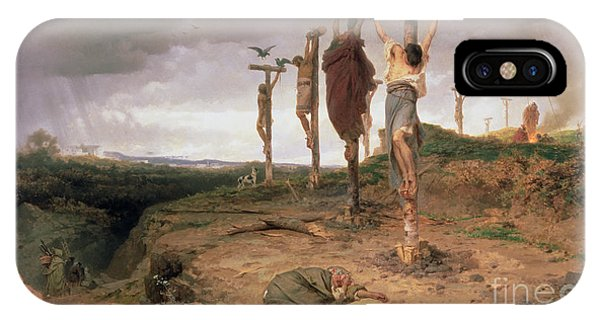Crucifixion iPhone Case - The Damned Field Execution Place In The Roman Empire by Fedor Andreevich Bronnikov