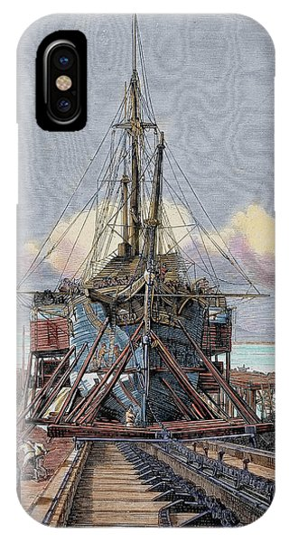 Navigation iPhone Case - The Dry Dock Barcelona Engraving by Prisma Archivo