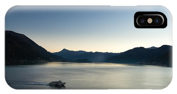 Powerboat iPhone Case - The Early Morning Commuter Ferry Leaving Argegno On Lake Como by Peter Noyce