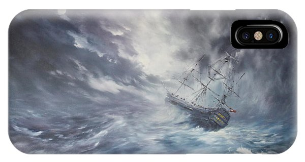 The Endeavour On Stormy Seas IPhone Case
