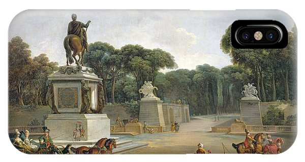 Concorde iPhone Case - The Entrance To The Tuileries From The Place Louis Xv In Paris, C.1775 Oil On Canvas by Jacques Philippe Joseph de Saint-Quentin