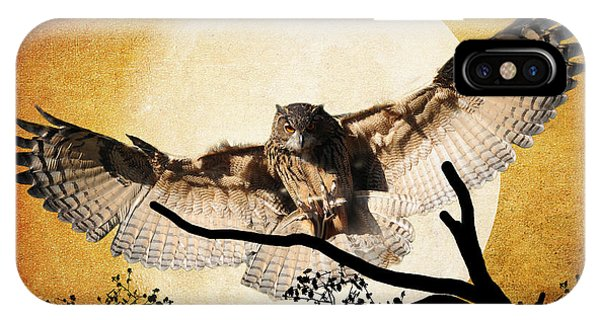 Avian iPhone Case - The Eurasian Eagle Owl And The Moon by Kathy Baccari