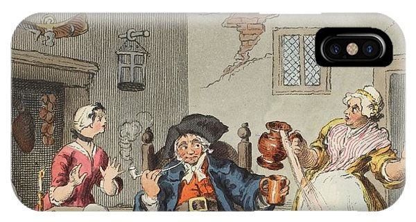 Fireplace iPhone Case - The Farmers Return, Illustration by William Hogarth