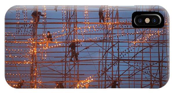 Street Light iPhone Case - The Festival Runs Ship Fire by Sarawut Intarob