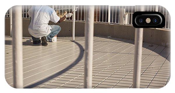 black man painting white fence - The Fine Line Phone Case by Kobi Amiel
