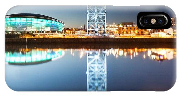 Beautiful Scotland iPhone Case - The Finnieston Crane And Hydro Light Blue by John Farnan