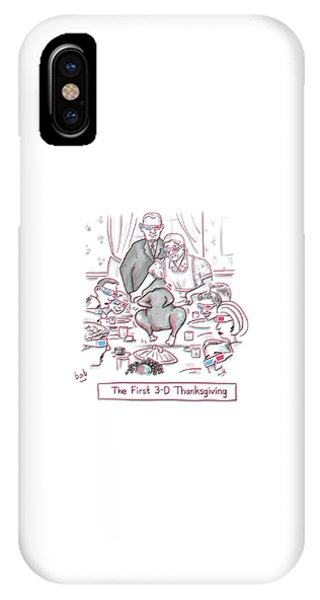 The First 3-d Thanksgiving.  A Turkey Is Dancing IPhone Case