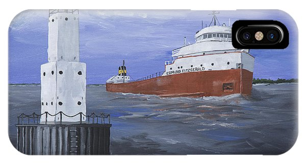 Lake Superior iPhone Case - The Fitz Departs Escanaba by Jerry McElroy
