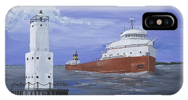 Lighthouse Wall Decor iPhone Case - The Fitz Departs Escanaba by Jerry McElroy