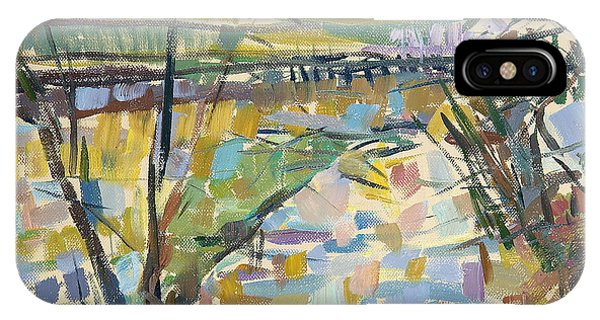 English Countryside iPhone Case - The Flooded Cherwell From Rousham I Oil On Canvas by Erin Townsend