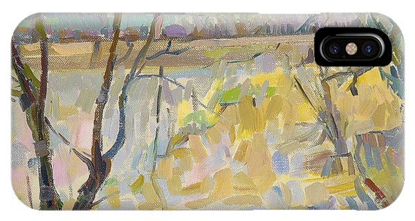 English Countryside iPhone Case - The Flooded Cherwell From Rousham II Oil On Canvas by Erin Townsend