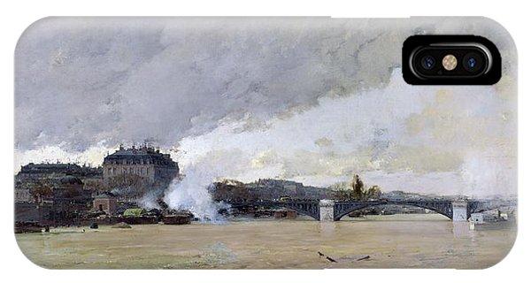 Flooded iPhone Case - The Flooding Of The Seine, C.1903 Oil On Canvas by Luigi Loir