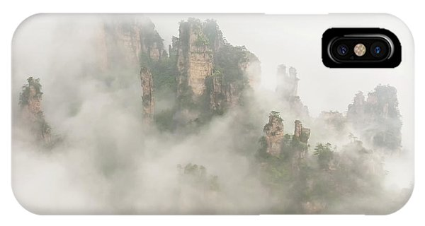 Sandstone iPhone Case - The Foggy Peaks by David Hua