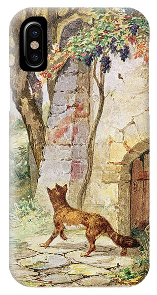 Cunning iPhone X Case - The Fox And The Grapes, Illustration For Fables By Jean De La Fontaine 1621-95 Colour Litho by Jules David
