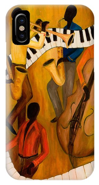 Trumpet iPhone Case - The Get-down Jazz Quintet by Larry Martin