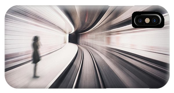 Train Tracks iPhone Case - The Girl Of The Metro Station by David Krischke