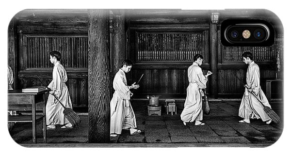 Temple iPhone Case - The Going And The Being Back Of A Monk In The Sweeping Of The Temple (tokio) by Joxe Inazio Kuesta