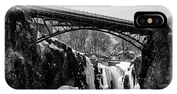 The Great Falls Of Paterson In Black And White IPhone Case