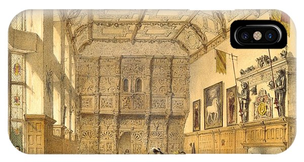 Fireplace iPhone Case - The Great Hall, Hatfield, Berkshire by Joseph Nash