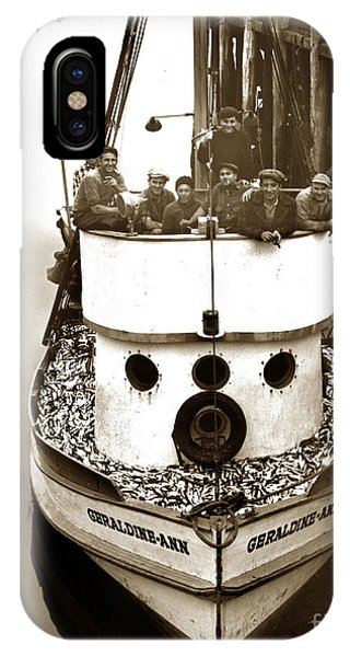 The Happy Crew Of The Fishing Boat  Geraldine- Ann Monterey California 1939 IPhone Case