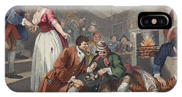 Fireplace iPhone Case - The Idle Prentice Betrayed by William Hogarth